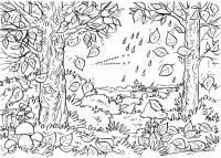 Раскраски лес и пейзажи раскраска осенний пейзаж,птицы улетают,падают листья