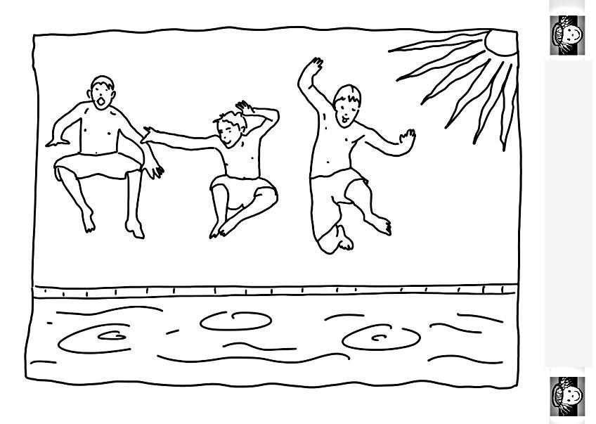 Раскраски лето лето, вода, бассейн, мальчики, жара