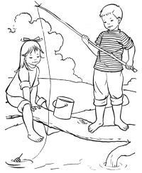 Раскраски природа мальчик девочка удочка рыбалка ведро поплавок лето