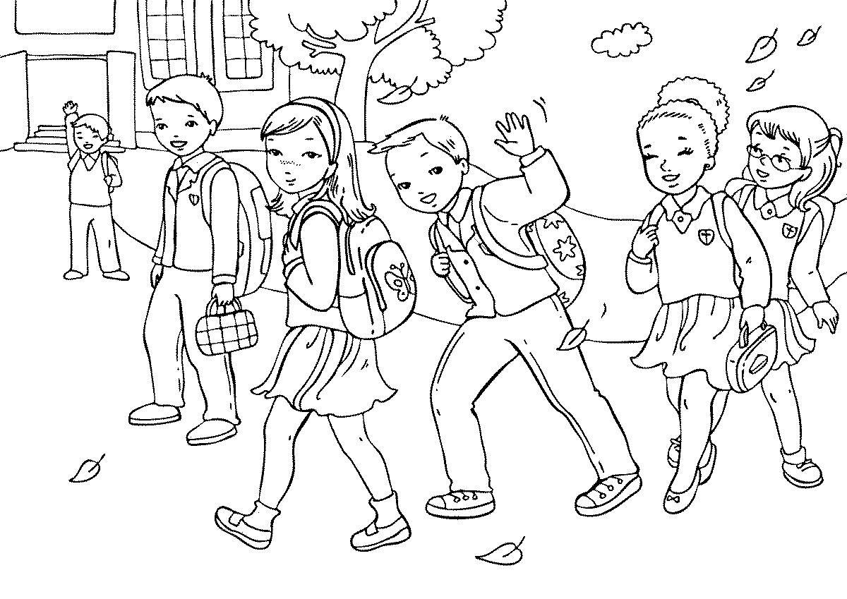 Разукрашка ребята спешат в школу