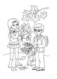 Раскраски 1 сентября день знаний первоклассники, раскраска, гербарий, школа