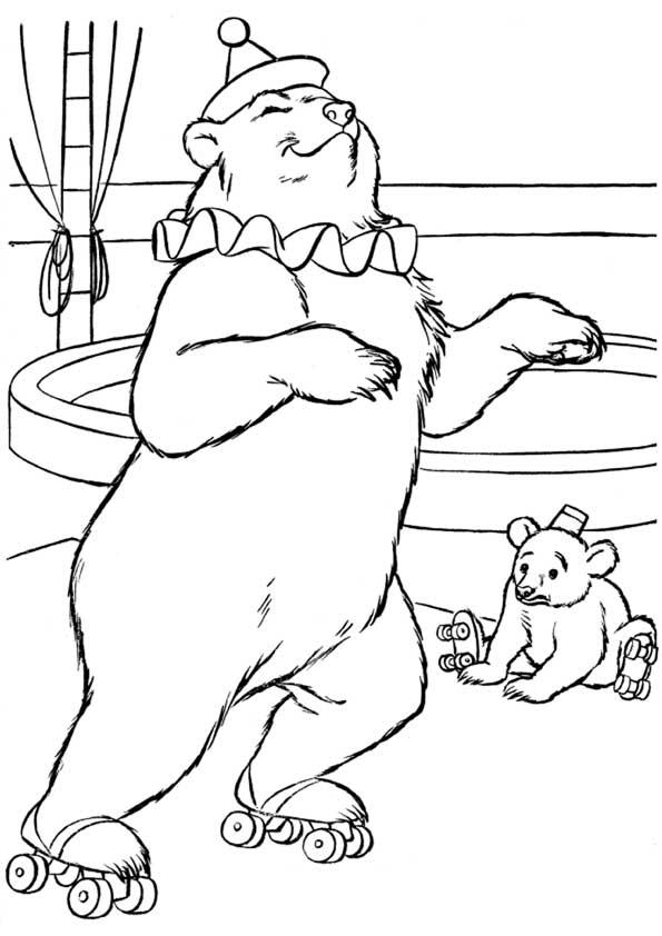 Животные Медведь в цирке Раскраски распечатать