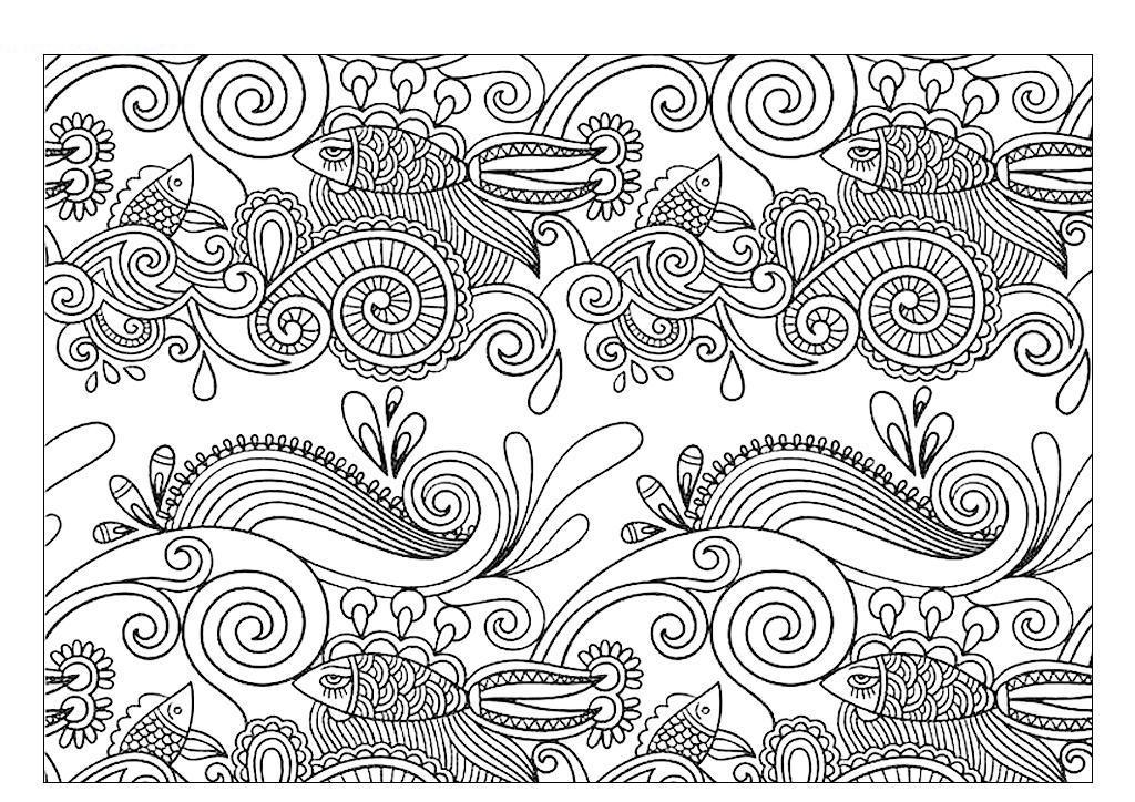 Рыбки Раскраски арт-терапия, картинки антистресс распечататьбесплатно, раскраски для взрослых скачать Раскраски распечатать