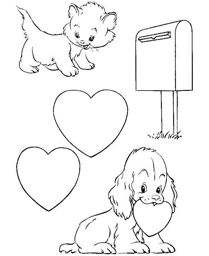 Раскраска котик и собачка с сердечками