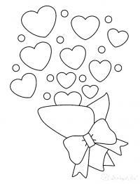 Раскраски день святого валентина букет, сердечки, день святого валентина