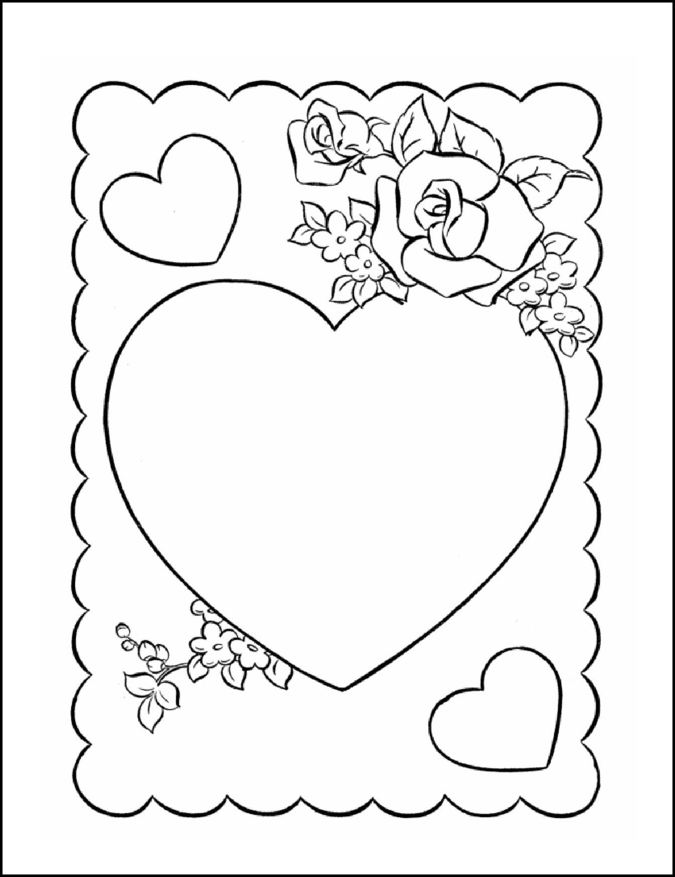 Раскраска открытка на день влюбленных
