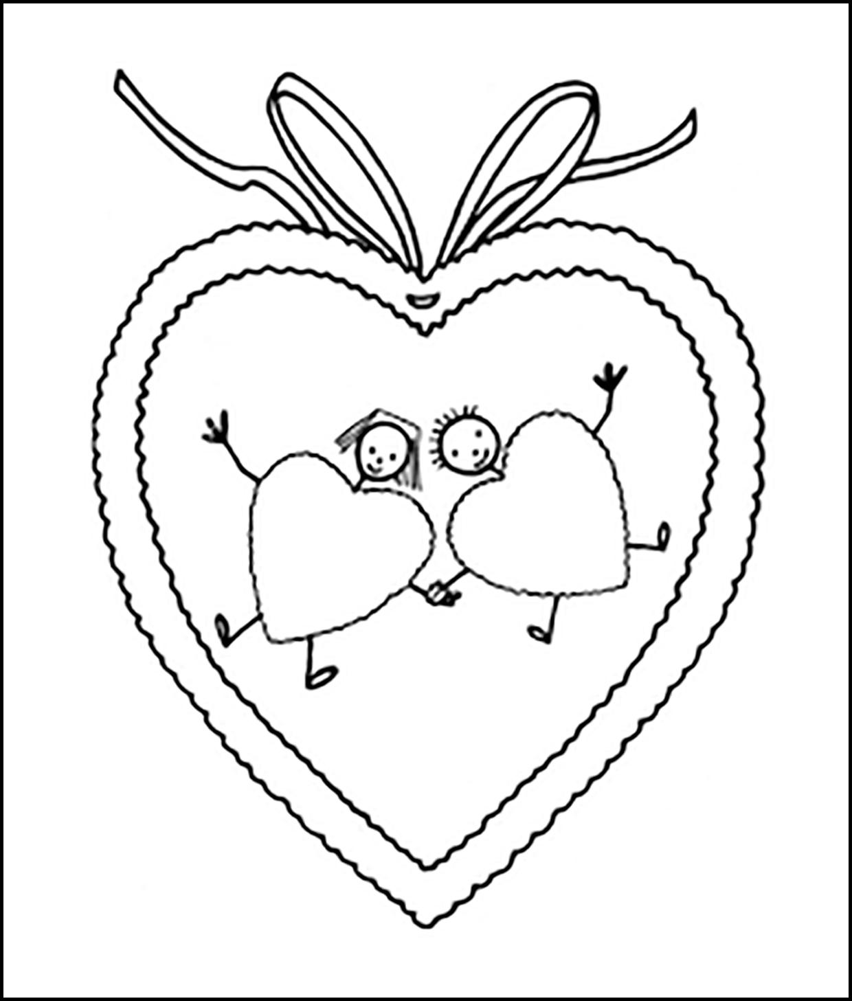 Раскраска влюбленные сердечки