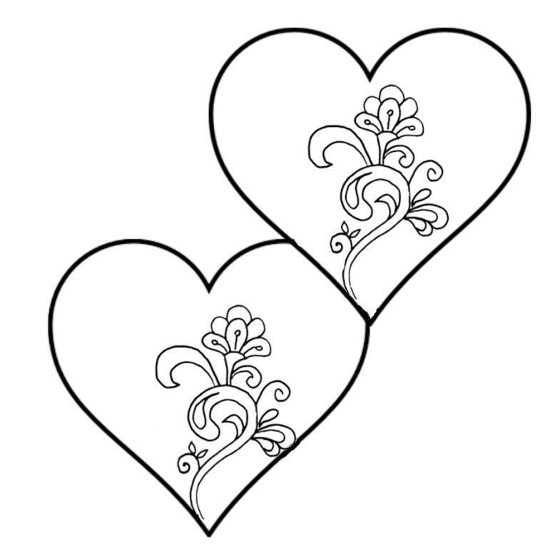 Раскраски день сердечки