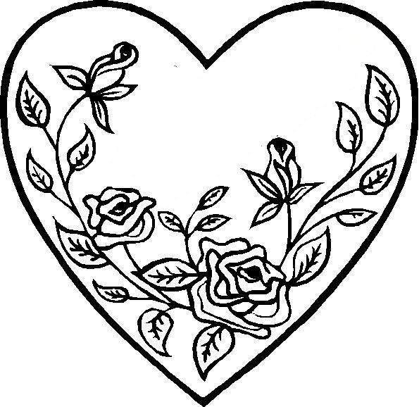 Раскраски святого сердце, розы, валентинка