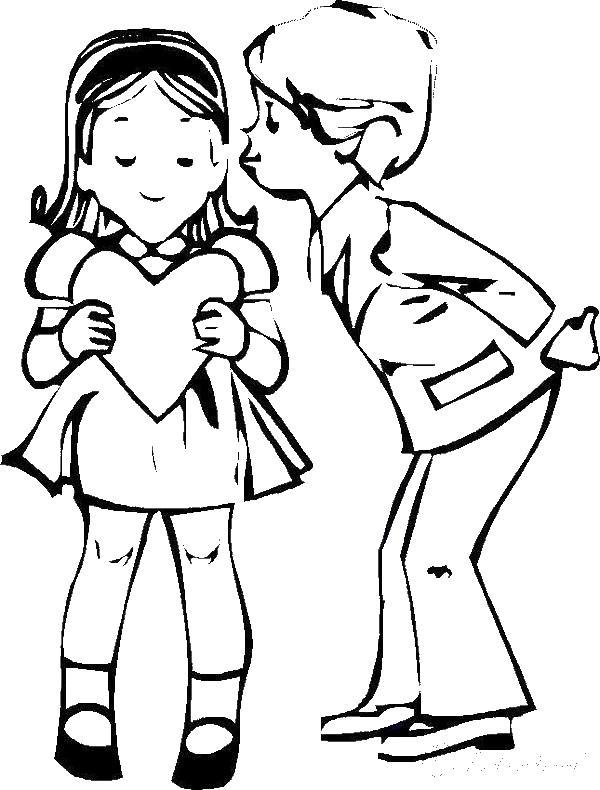 Раскраски любовь дети, любовь, открытка, валентинка