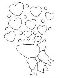 Раскраски сердечки букет, сердечки, день святого валентина