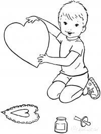 Раскраски праздники день святого валентина, открытка, сердце