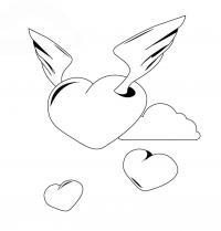 Раскраска сердечко-ангелочек и маленькие сердечки