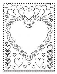Раскраски святого открытка, валентинка, сердца