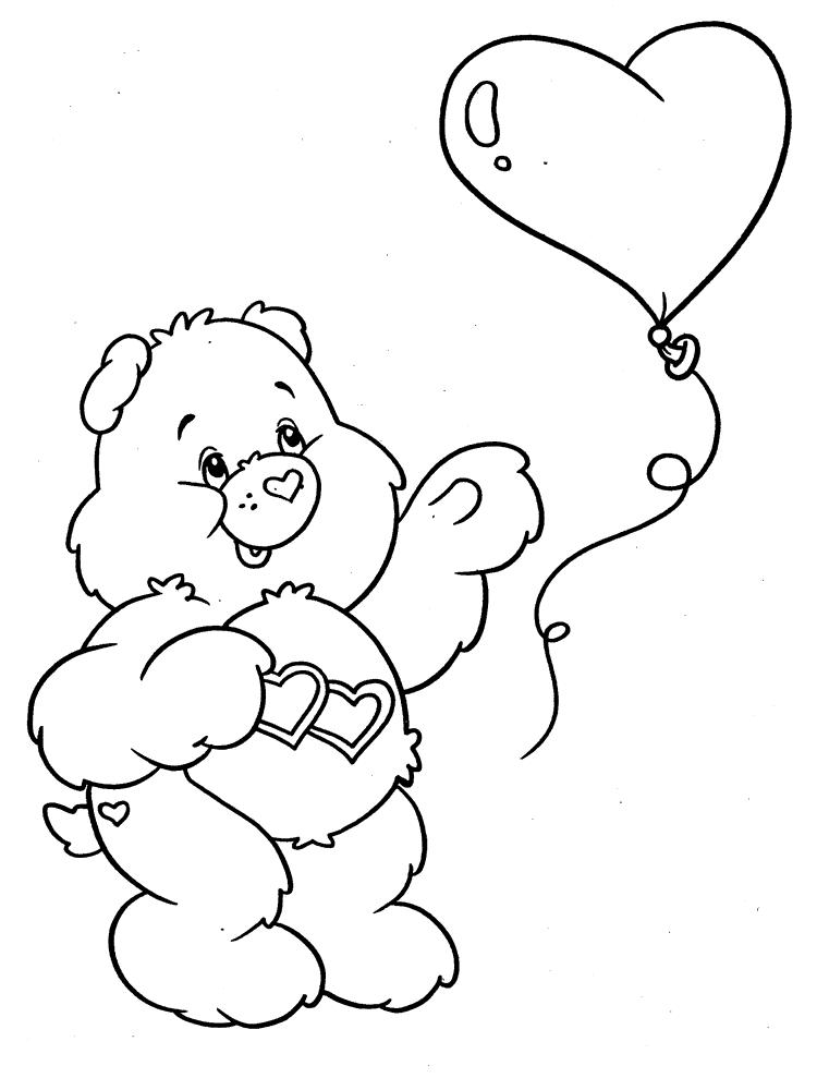 Мишка-любовь и воздушный шарик. раскраски заботливые мишки