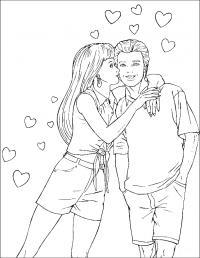 Раскраски любовь девушка парень любовь