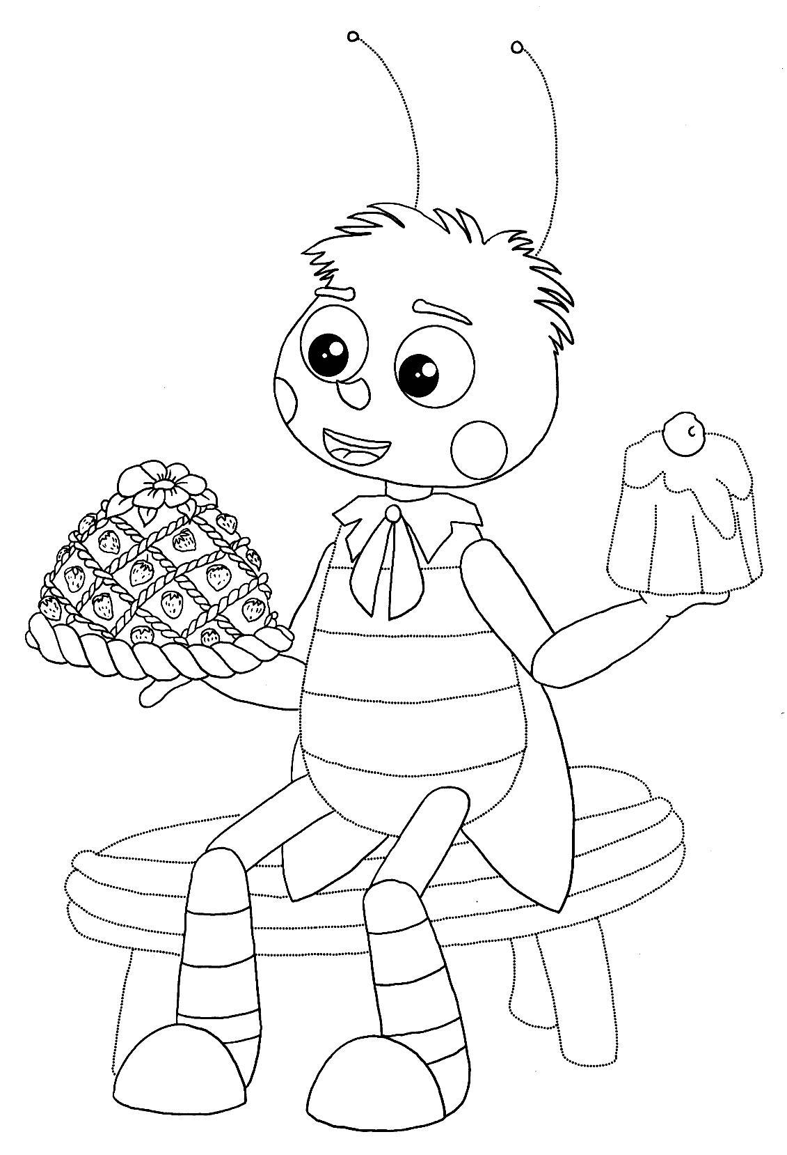 пчеленок с пирогом раскраска из мультфильма лунтик и его