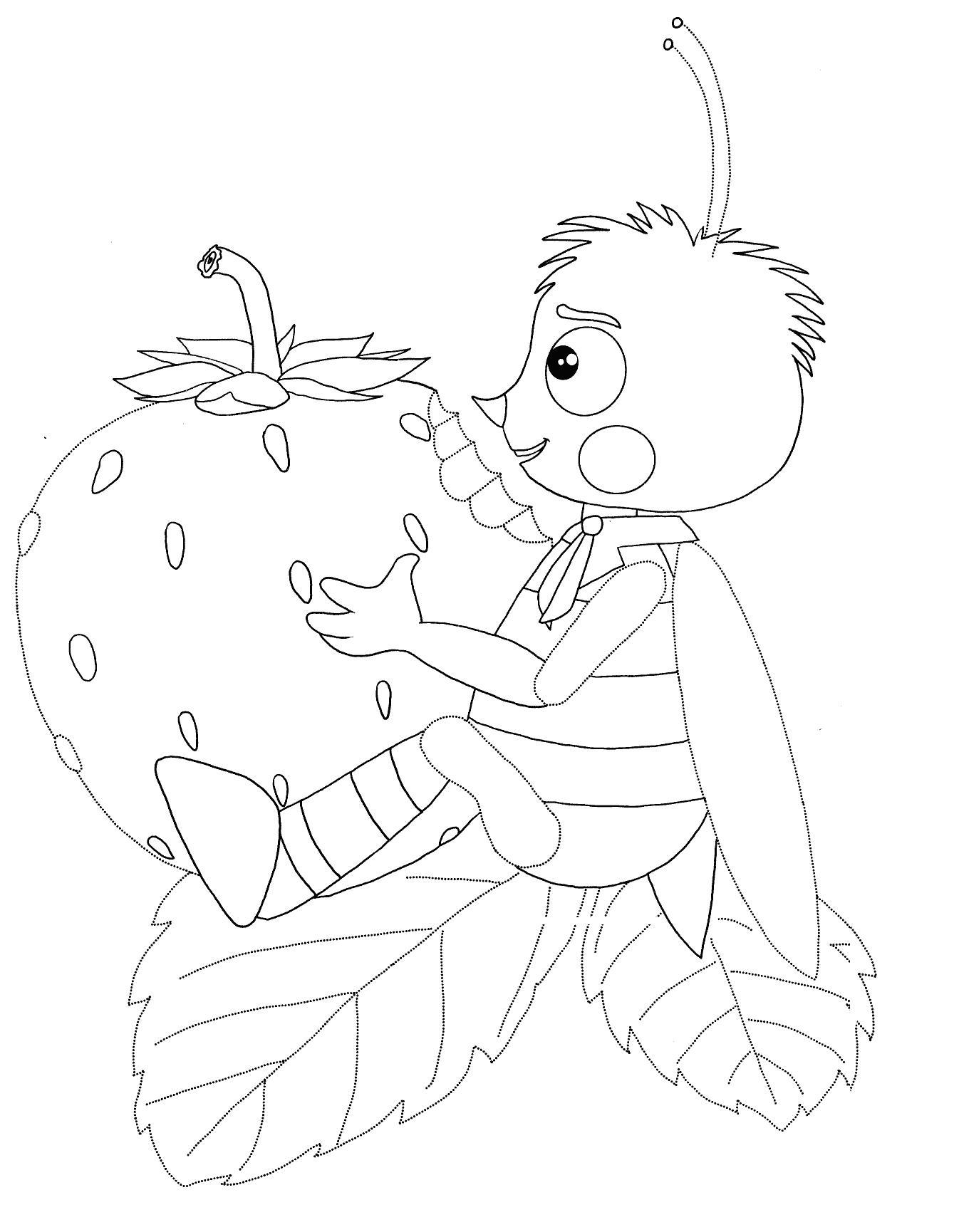 пчеленок с земляникой раскраска из мультфильма лунтик и