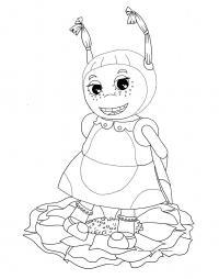 Раскраска милая мила. раскраска божья коровка мила дружит с лунтиком, лунная пчела, приключения лунтика и его друзей, скачать разукрашку из мультфильма