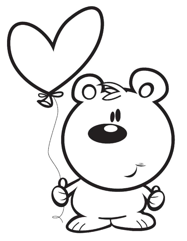 Мишка держит шарик в виде сердечка