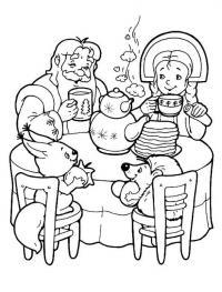 Масленица. дед со внучкой ест блины