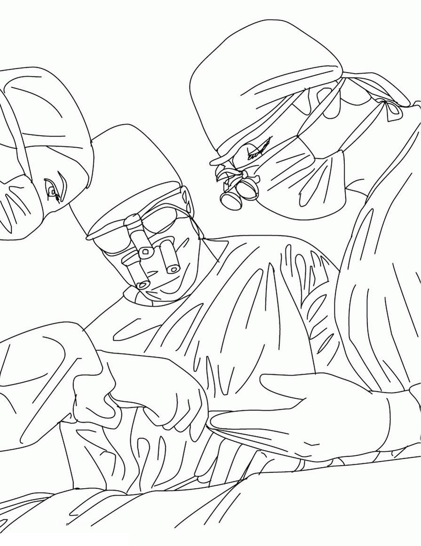 Раскраски доктора, врачи, медсестры хирург