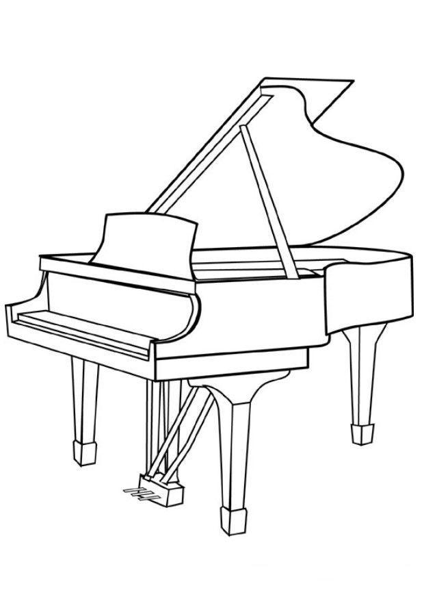 Раскраска рояль музыкальный инструмент