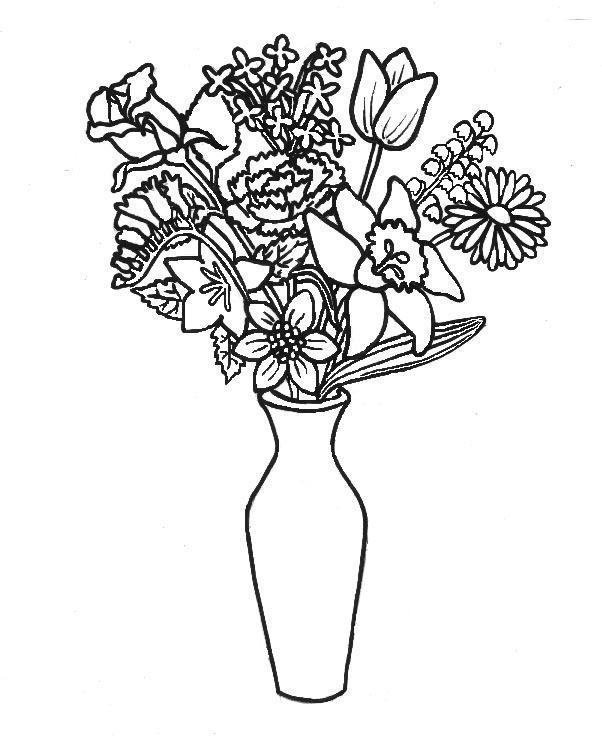 Цветы в вазе для разукрашивания