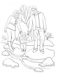 Раскраски природа семья на природе, отдых на природе, раскраски.