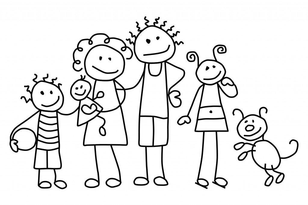Большая семья раскраска для детей