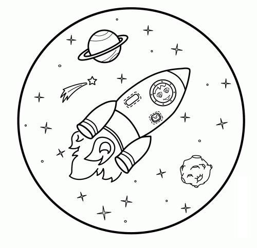 Космос разукрашка космонавт в космосе