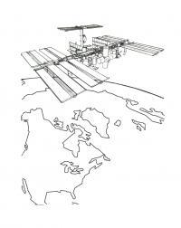 Раскраска космическая станция мкс