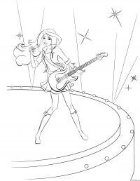 Раскраска барби поет и играет на гитаре