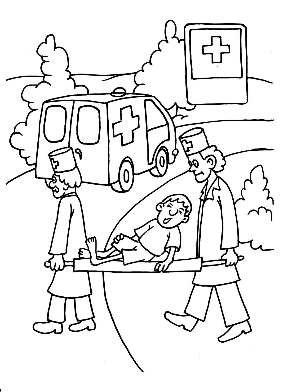 Раскраска медпункт. раскраска раскраски знаки дорожного движения. носилки, скорая помощь, санитары, врач, медик
