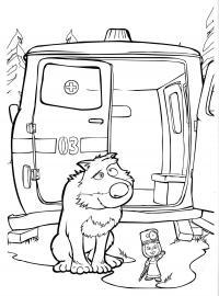 Раскраска приходи лечиться!. раскраска после неспокойной ночи волки пожалели о том, что выкрали машу и медведя. один из волков отправился на переговоры. скорая помощь, врач, доктор, раскраска маша и медведь