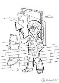 Раскраски строитель мастерок кирпич