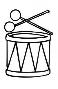 Простая раскраска барабан  и барабанные палочки- все для детского сада