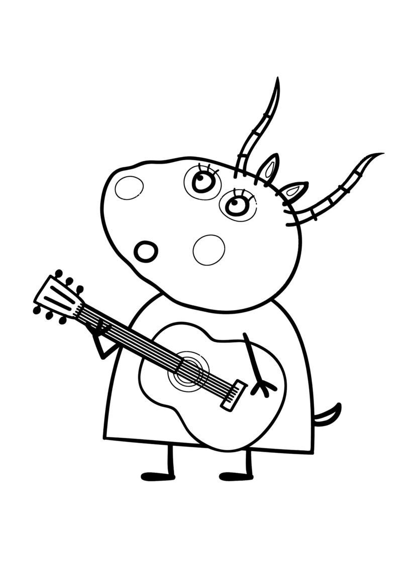 Раскраска мадам газель с гитарой