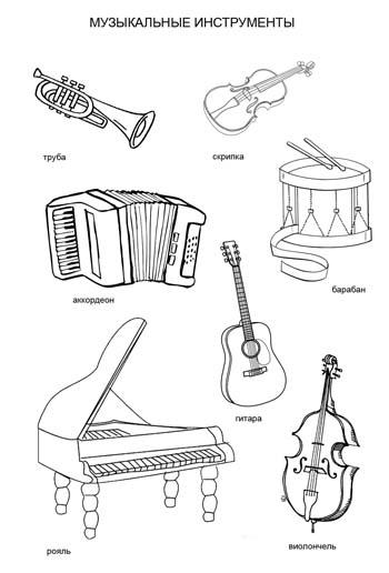 Музыкальные инструменты. раскраска рояль виолончель скрипка барабан аккордеон гитара