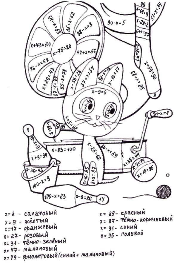 математические раскраски с примерами котенок по имени гав