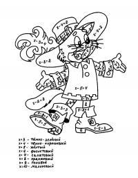 Раскраски математические математическая раскраска кот в сапогах, мультфильм