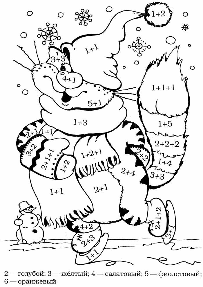 раскраски с примерами, толстый кот на коньках