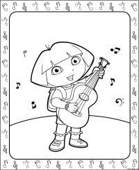Раскраска даша-путешественница играет на гитаре