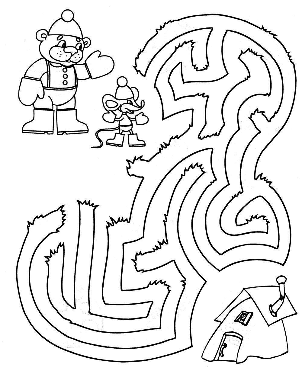 Раскраски лабиринт детская раскраска-лабиринт, помоги мишке и мышке добраться домой