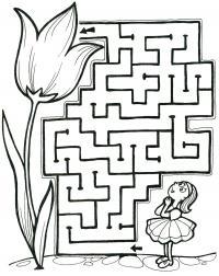 Раскраски лабиринт детская раскраска-лабиринт, девочка и цветок