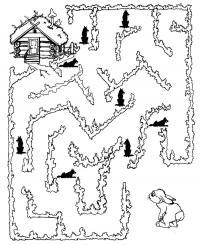Раскраски лабиринт детская раскраска-лабиринт, помоги зайчику добраться домой минуя всех волков