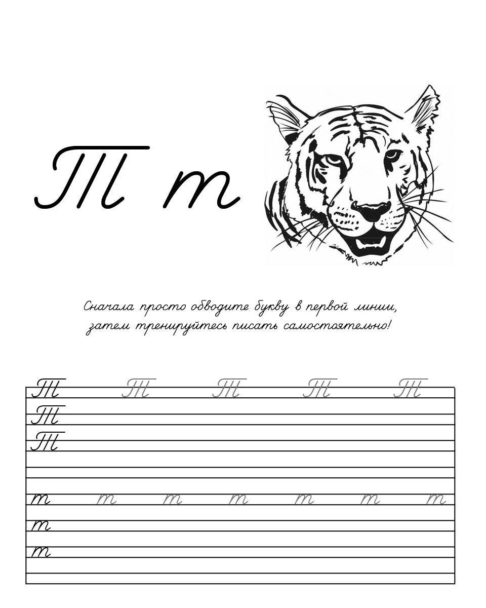 Раскраска буква т прописью, раскраска тигр