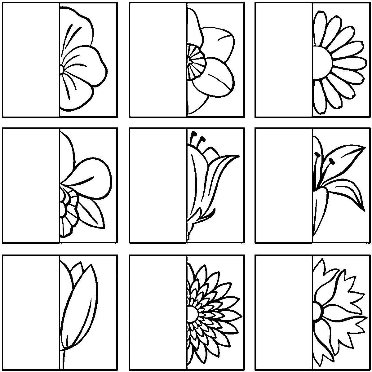 Раскраски образцу дорисуй цветы по образцу, дорисуй половинки