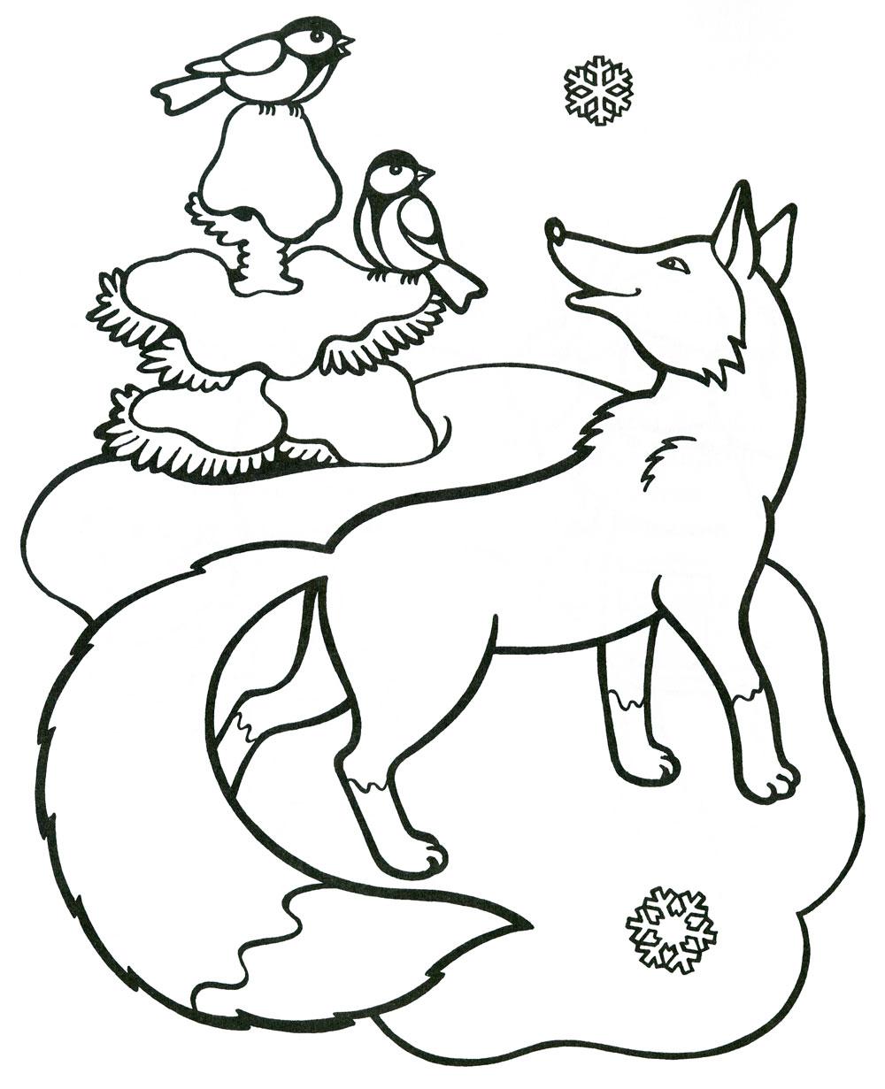 Животные зимой раскраски для детей
