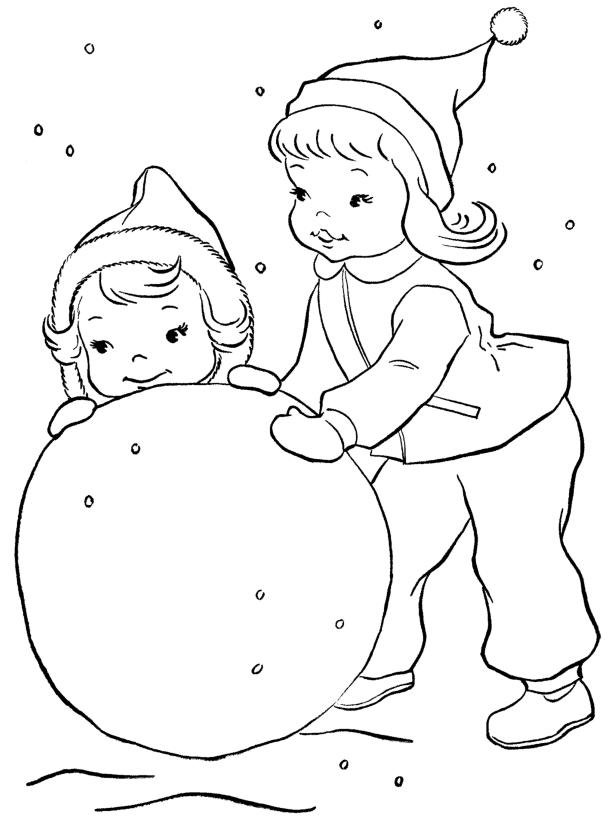 Раскраски ком снега